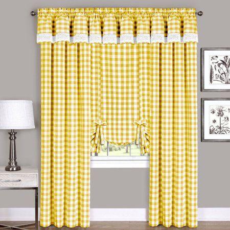 Achim Buffalo Check Window Curtain Tie Up Shade 42 X 63 Red Walmart Com Curtains Drapes Curtains Kitchen Window Curtains