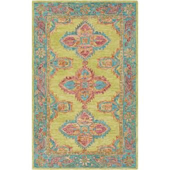 Isai Hand Tufted Pink Area Rug In 2020 Wool Area Rugs Eclectic Area Rug Teal Area Rug