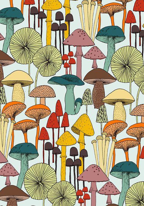 mushroom pattern from hand illustrated fungi. mushroom print