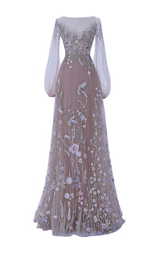 Shop The Belle Blossom Fairy Dress. This **Hamda al Fahim** gown features full pastel colored embroidery, illusion neckline and bell sleeves, with an illusion-partially exposed back. Beautiful Gowns, Beautiful Outfits, Pretty Outfits, Pretty Dresses, Evening Dresses, Prom Dresses, Sleeve Dresses, Fantasy Gowns, Fairy Dress