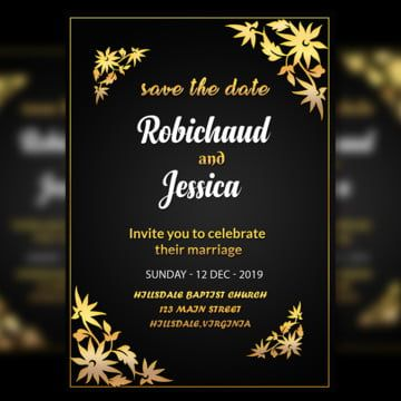 Black Wedding Invitation Card Template With Amzaing Gold Flower Border And Gradi Black Wedding Invitations Wedding Invitation Card Template Wedding Invitations