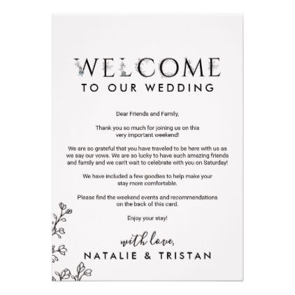 Floral Typography Welcome Letter Itinerary Program Zazzle Com