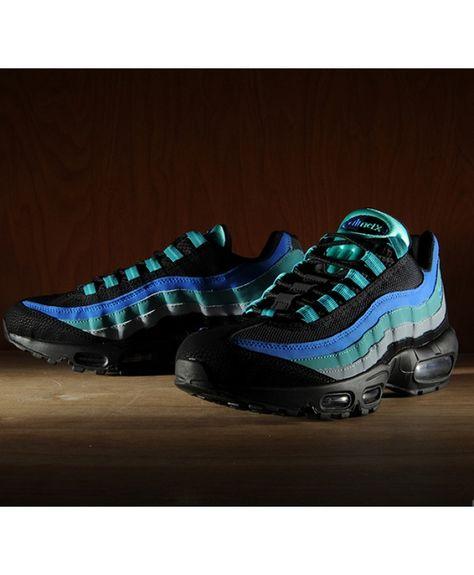 sale retailer 71d35 df468 Nike Air Max 95 Black Hyper Royal Blue Green Trainers