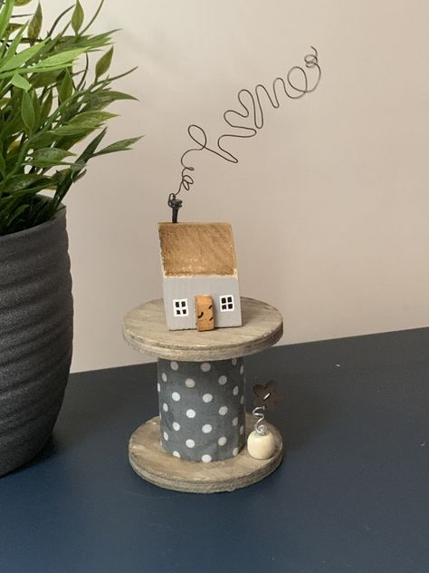 Excited to share this item from my #etsy shop: Driftwood Cottage on a large cotton reel. Home made from wire above. In grey and grey spotted fabric.
