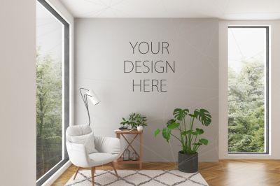 Interior Mockup Blank Wall Scene Psd Mockup Template Design Mockup Free Free Psd Design Free Packaging Mockup