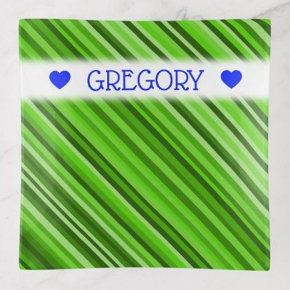 Customizable Name Green Lines Stripes Pattern Trinket Trays