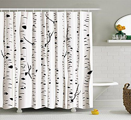 Amazon Com Ambesonne Birch Tree Shower Curtain Forest Seasonal