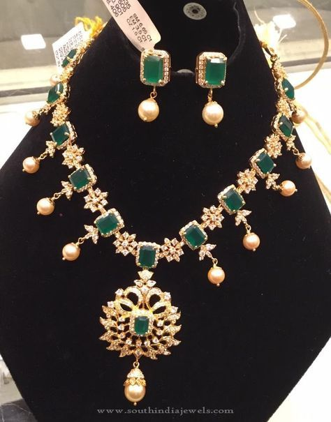 Gold Cz Emerald Necklace Set Necklace Set Gold Jewellery Design