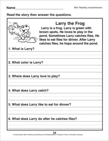 Larry The Frog A Reading Comprehension Passage With Questions 1st Grade Reading Com Reading Comprehension Skills Reading Comprehension Comprehension Passage Comprehension worksheets for grade 5