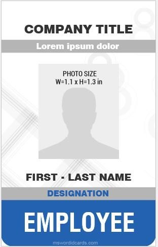 Employee Id Card Template Vertical Design Ms Word Id Card