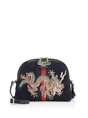 685f305f2 Gucci Linea Dragon Suede Shoulder Bag | Fab accessories | Gucci ...