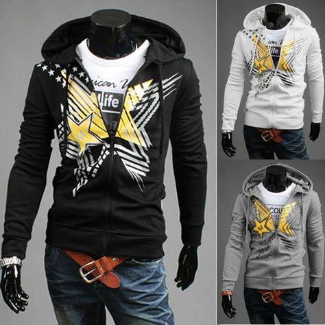 74bba8faec130 Mens ropa deportiva con capucha informal sudaderas moda impresión pentagrama