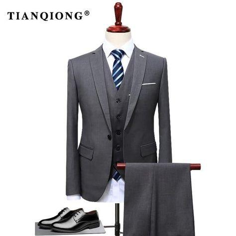 Luxury Design Men Three Pieces Suit Vest Pants Formal Dress Suit Set - Gray / XXXL