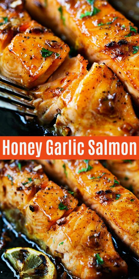 Easy salmon with honey garlic sauce is one of the best salmon recipes It s garlicky sweet and sticky with simple ingredients Takes only 20 mins to make salmon dinner Salmon Dinner, Seafood Dinner, Seafood Meals, Baked Salmon Recipes, Fish Recipes, Asian Recipes, Skin On Salmon Recipes, Best Seafood Recipes, Garlic Recipes