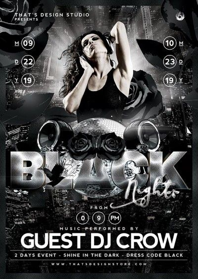 Black Night Flyer Template V1 Flyer template, Template and Psd - black and white flyer template
