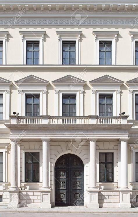 Building Facade In Neoclassical Style As Architectural Element Neoclassical Architecture Facade Design Facade House