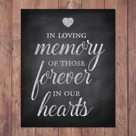 Wedding Memorial Sign - PRINTABLE In loving memory of those forever in our hearts Includes sizes: 8x10 and 5x7 This printable rustic wedding