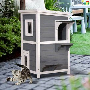 Pawhut Wooden Mutil Feature Cat House Condo With Scratching Post Nap Area Acrylic Panel Jumping Platform Litter Box Outdoor Cat House Dog House Diy Cat Condo
