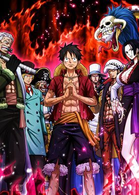 One Piece Stampede Metal Poster Onepiecetreasure Displate Manga Anime One Piece One Piece Wallpaper Iphone One Piece Crew