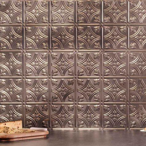 Fasade Backsplash Traditional 1 In Brushed Nickel Backsplash Metal Tile Backsplash Panels