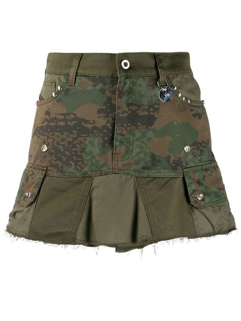 Diesel camouflage studded mini skirt - Green