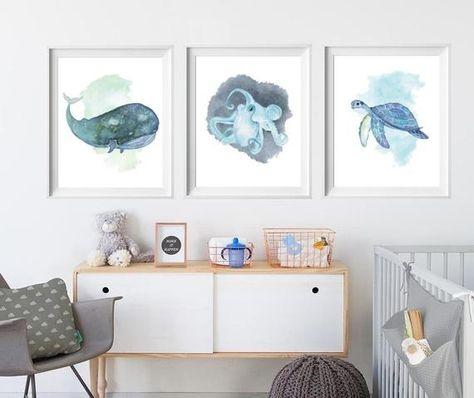 Ocean nursery decor set of 3 piece wall art - Blue Whale art Octopus print sea Turtle art, Sea life