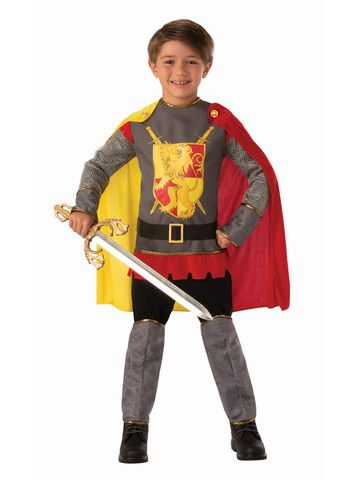 Medieval Silver Knight Child Costume Boys Girls Dragon Slayer King Prince New