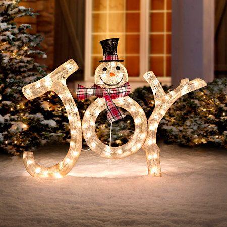 3 Lighted Joy Snowman Outdoor Christmas Decoration Outdoor Christmas Diy Outdoor Christmas Outdoor Christmas Decorations