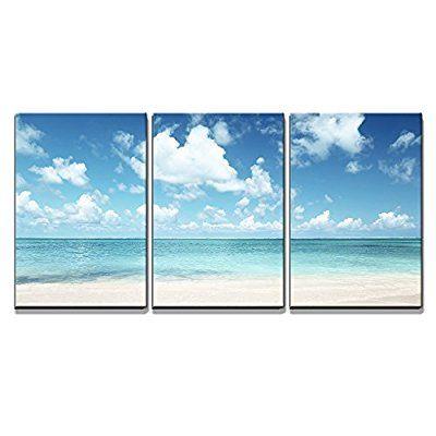 Amazon Com Wall26 3 Piece Canvas Wall Art Sand Of Beach