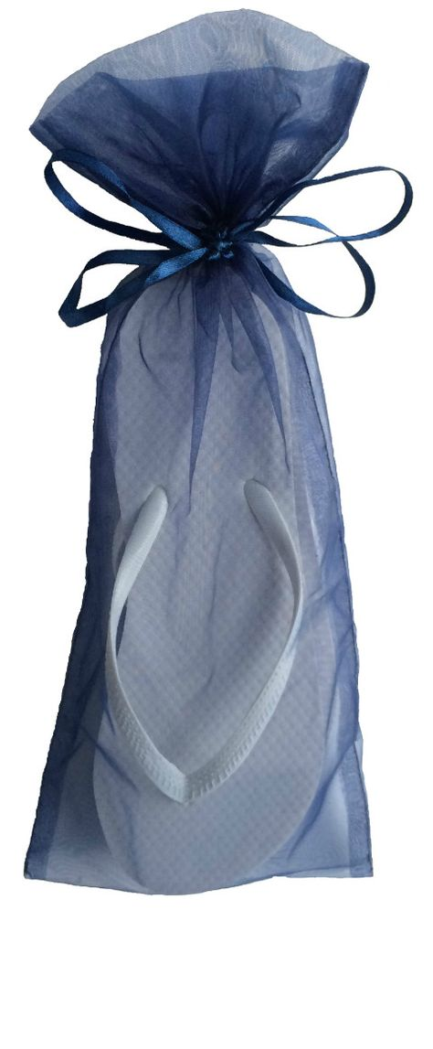 9f49326948fc Classic White Flip Flop with Smoke Blue Organza Bags