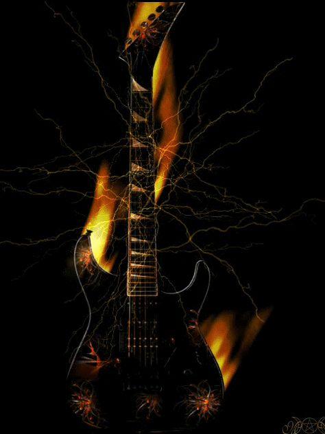 Огненная гитара гифка, открыток вакансии поздравления
