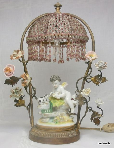 Antique Cherub Lamp Foter (With images) | Beaded lamps