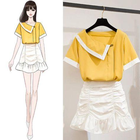41.4US $ |ICHOIX women 2 piece skirt set Korean style summer outfits white blouse folds mini skirt girl 2 piece set tops and skirt set|Women's Sets|   - AliExpress