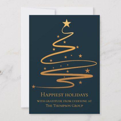 Elegant Christmas Tree Happy Holidays Business Holiday Card