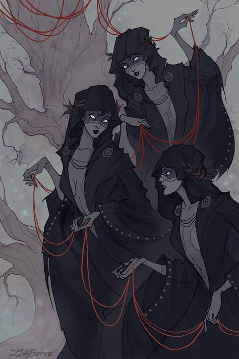 The Norns in Norse mythology (or Moirai - in Greek mythology) are female beings who rule the destiny of. art by IrenHorrors Greek Mythology Art, Norse Mythology, Arte Horror, Horror Art, Fantasy Kunst, Fantasy Art, Character Inspiration, Character Art, Witch Art