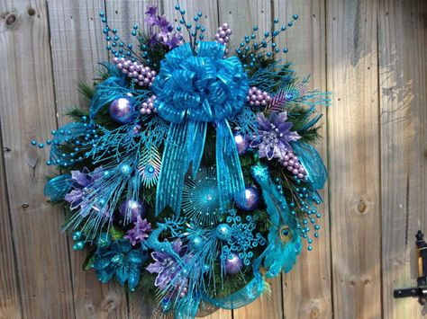 SALE  Teal and Lavender Peacock Christmas by DreamCharmDesigns, $180.00