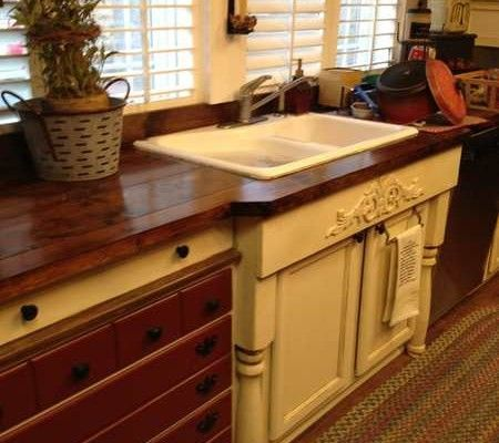 Cabinets Made Using Old Dresser And Adding Legs To The Sink Base Love The Extended Counter Top For T Manufactured Home Kitchen Remodel Mobile Home Renovations