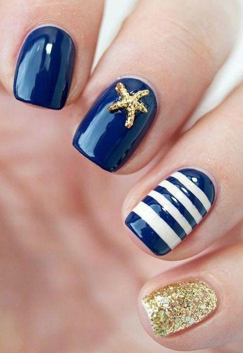 These Are 50 Gorgeous Summer Nail Designs You Need To Try! These Are 50 Gorgeous Summer Nail Designs You Need To Try!,Nail designs These Are 50 Gorgeous Summer Nail Designs You Need To Try! Nails Yellow, Blue Nail, Navy Nail Art, Diy Nails, Cute Nails, Sailor Nails, Nautical Nails, Nautical Nail Designs, Beach Nail Designs