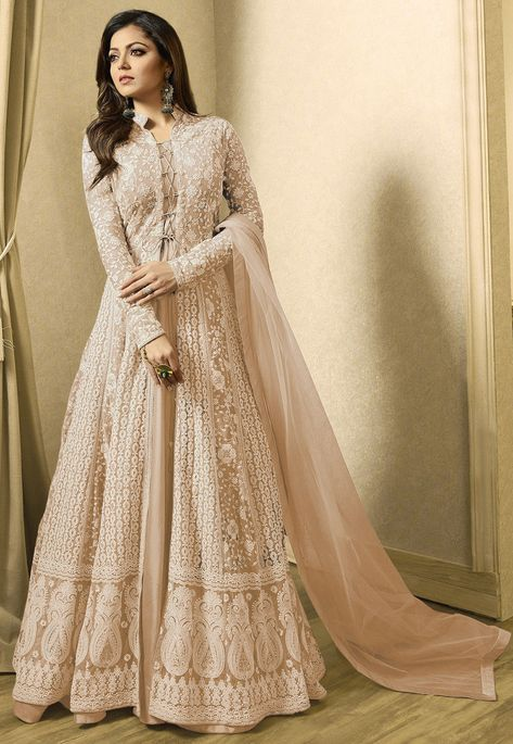 Abaya fashion - Net Abaya Style Kameez in Fawn This SemiStitched attire with Poly Shantoon Lining is Enhanced with Resham, Stone and Patch Border Work Crafted in Chinese Collar and Full Sleeves Available with a Pol