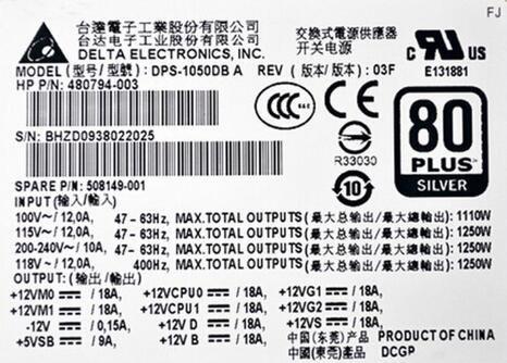 DELL 210W Power Supply HP-U2106F3 Tested