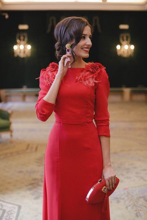 especial para zapato descuento de venta caliente vanguardia de los tiempos Look invitada boda noche vestido rojo largo espalda ...