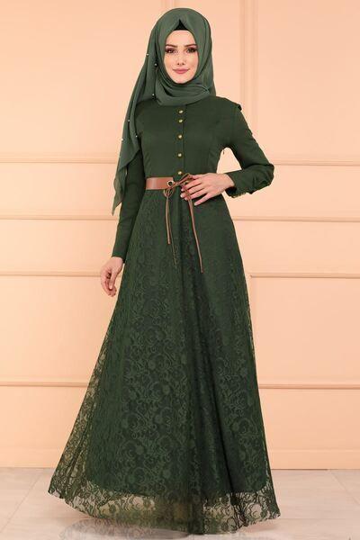 Modaselvim Elbise Kemerli Dantel Elbise 8648w153 Haki Dresses Muslim Dress Hijab Fashion