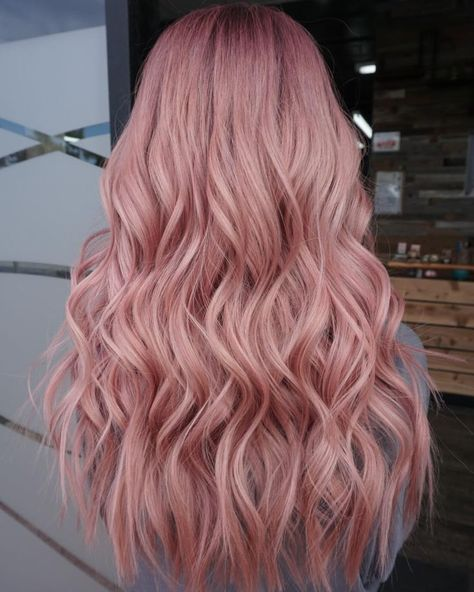 Rose gold Used Kenra Professional for color and to protect. Rose gold Used K Pastel Pink Hair, Pink Wig, Hair Color Pink, Yellow Hair, Hair Dye Colors, Cool Hair Color, Pink Ash Hair, Baby Pink Hair, Pastel Blonde