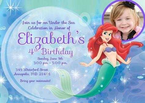 Little Mermaid Ariel Birthday Party Invitation