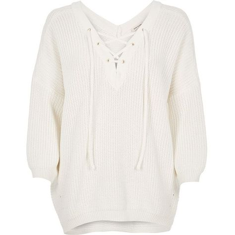 6304fbab66 River Island Cream knitted lace-up jumper ( 21) ❤ liked on Polyvore  featuring tops