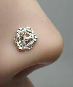 Indian 925 Sterling Silver Nose Stud corkscrew piercing nose ring L Bend 22g