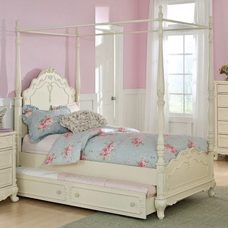 Homelegance Cinderella Canopy Poster Bed In Antique White Full Without Trundle Walmart Com Girls Bed Canopy Canopy Bedroom Sets Twin Canopy Bed