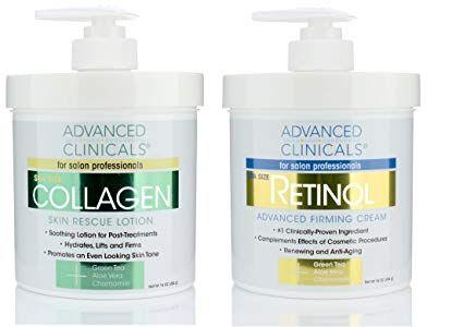 Advanced Clinicals Retinol Cream And Collagen Cream Skin Care Set Value Anti Aging Set For Wrinkles Fine Lines Collagen Cream Retinol Cream Skin Care Cream