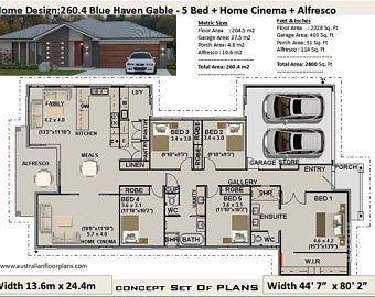 5 Bedroom House Plans Etsy House Plans Australia 5 Bedroom House Plans House Plans Farmhouse