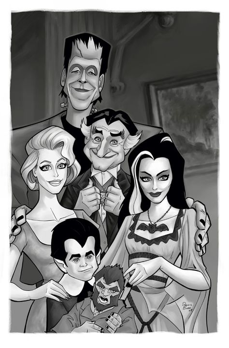 The Munsters colored Originals by [link] Colors by me. I know they weren't in color, but I wanted to see if I could get close to what they looked like i. The Munsters colored The Munsters, Munsters Tv Show, Munsters Grandpa, Munsters House, Funny Caricatures, Celebrity Caricatures, Beetlejuice, The Addams Family, Adams Family